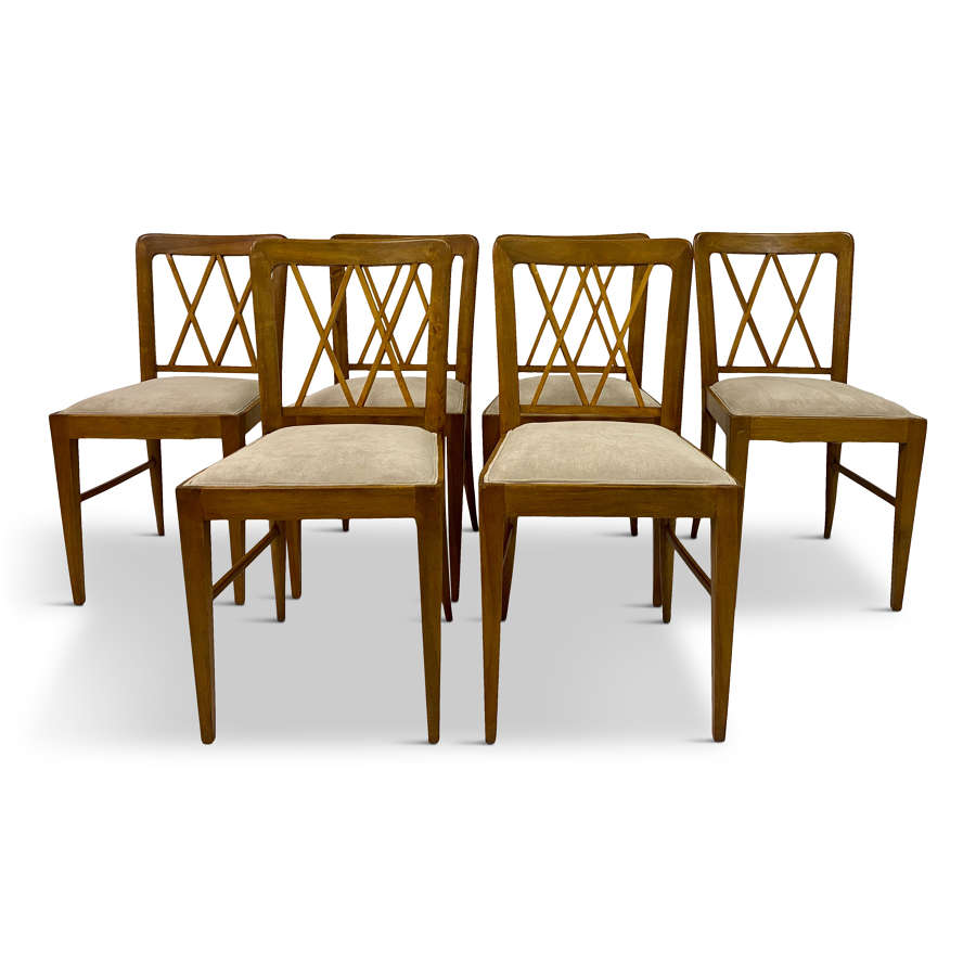 Set of Six 1940s Italian Dining Chairs Attributed to Paolo Buffa