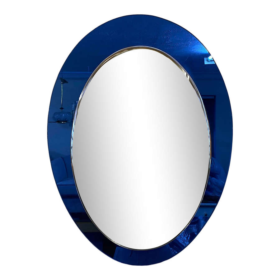 1960s Italian Mirror with Blue Glass Frame