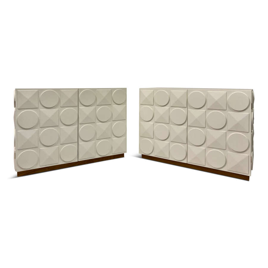Pair of White Postmodern Style Cabinets