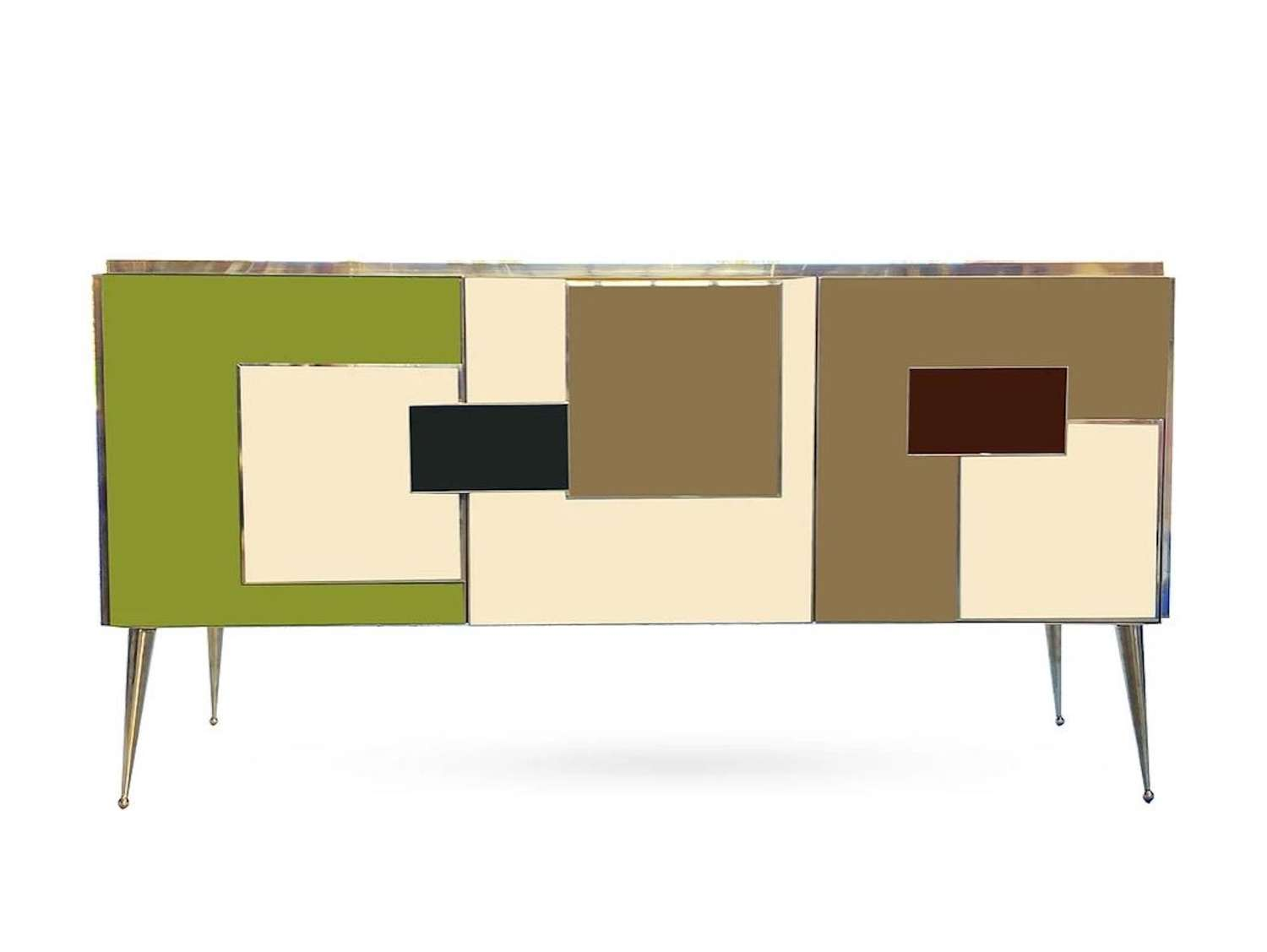Bespoke Coloured Glass and Brass Sideboard