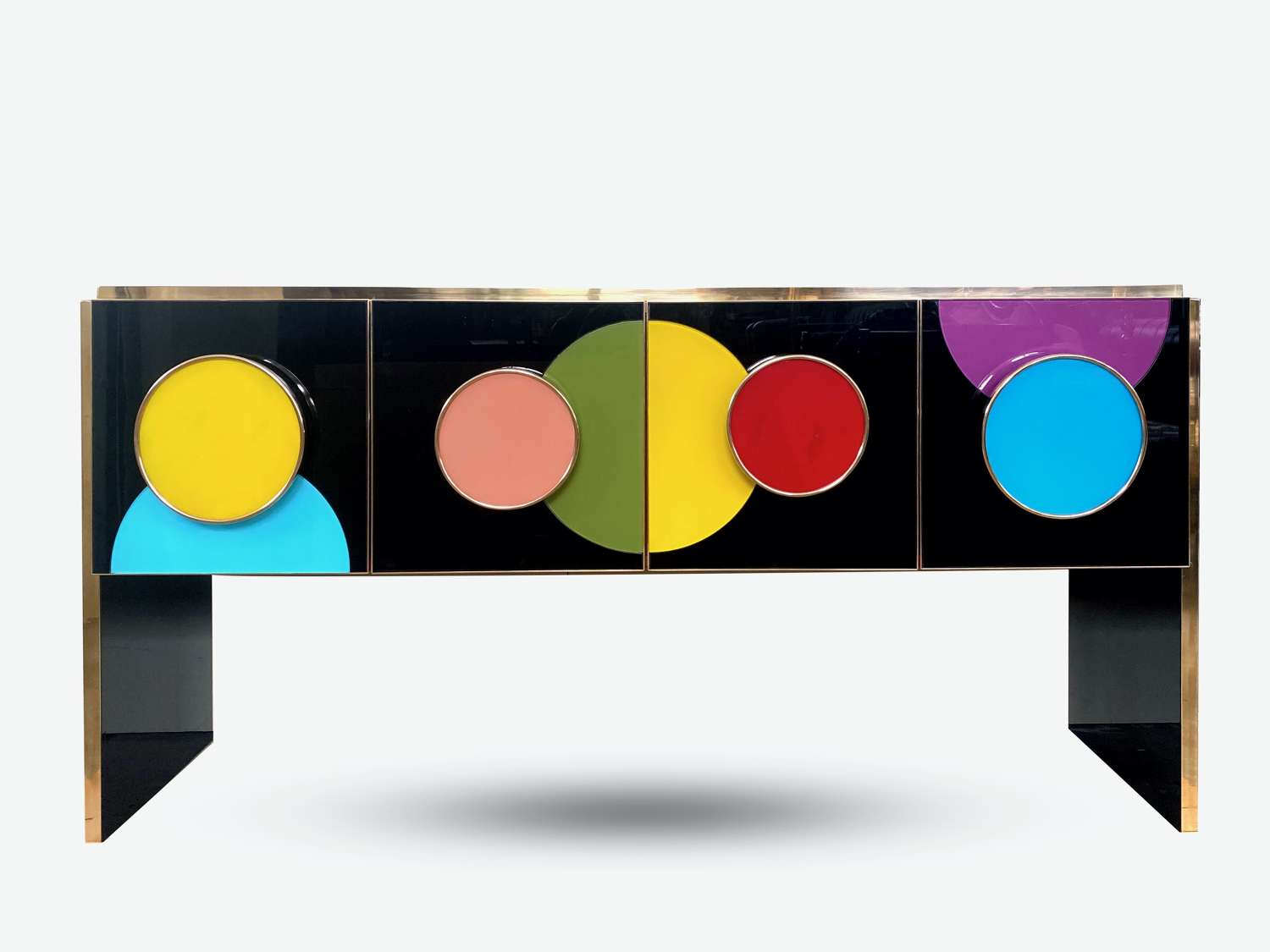 Bespoke Coloured Glass and Brass Console Sideboard