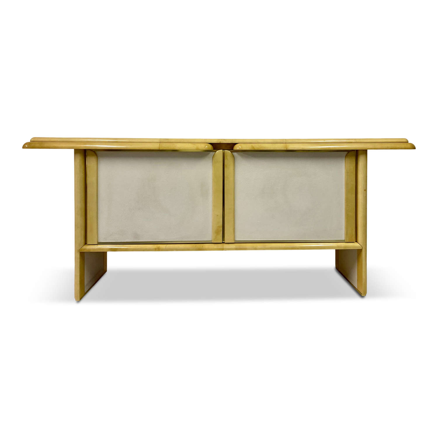 1970s Italian Lacquered Goatskin and Leather Console Sideboard