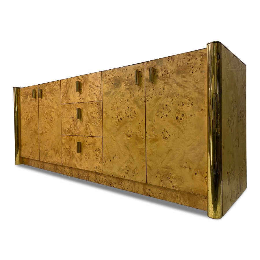 1970s Italian Burl Wood and Brass Sideboard