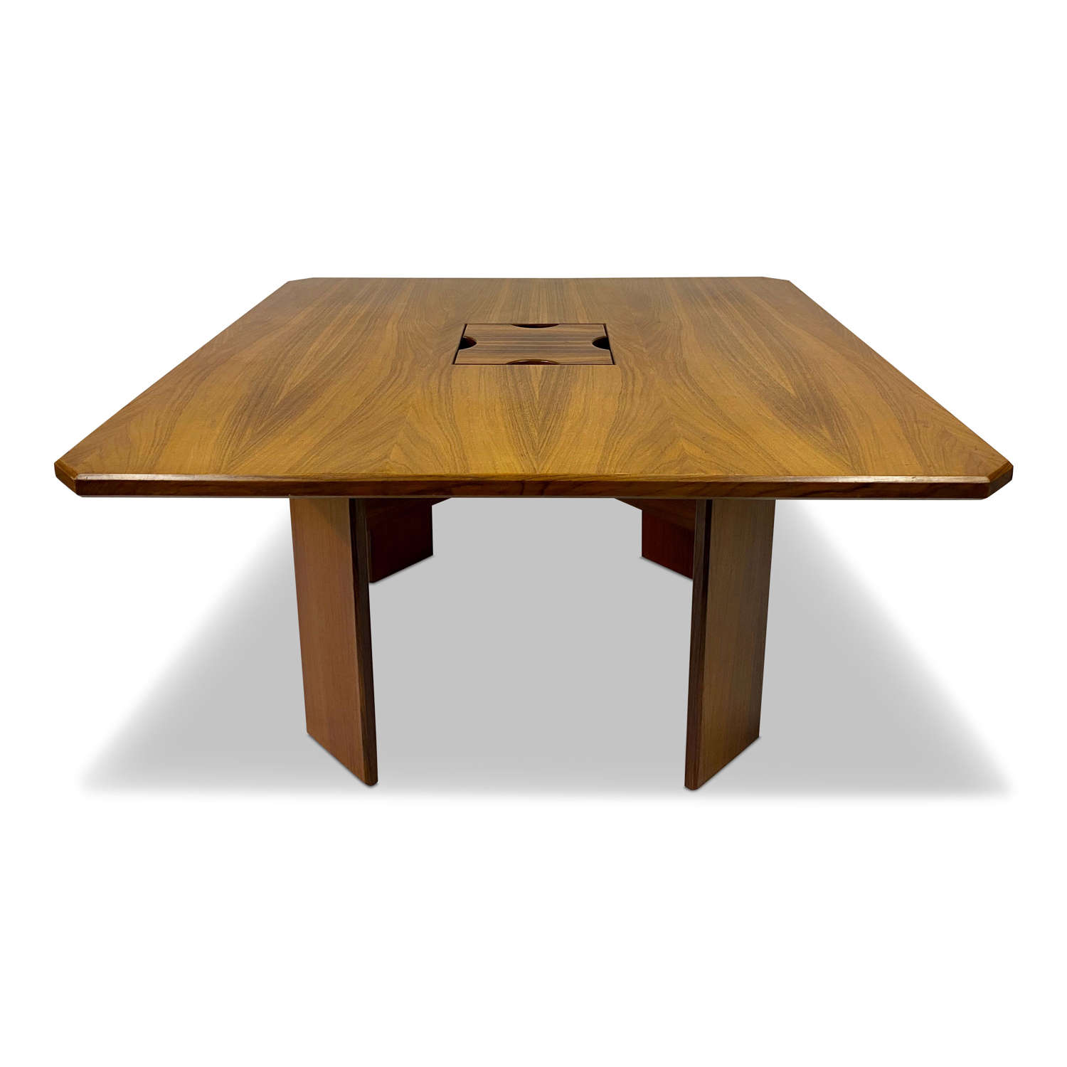 1970s Square Italian Rosewood Dining Table
