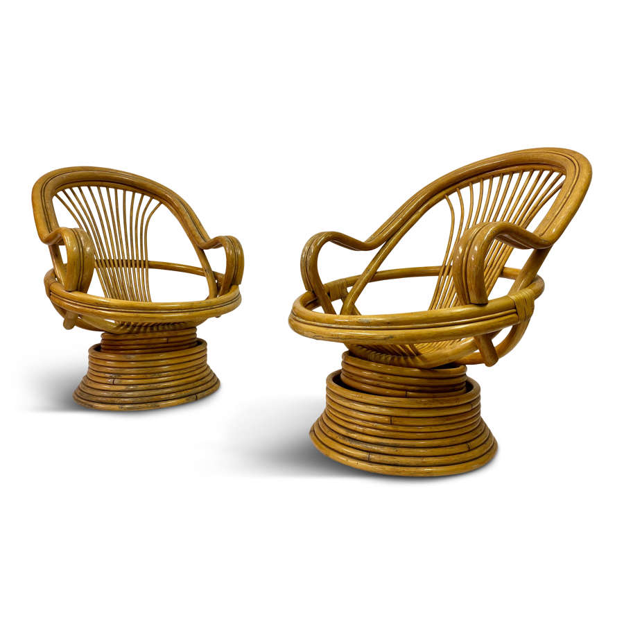 Pair of 1970s Italian Bamboo Swivel Armchairs