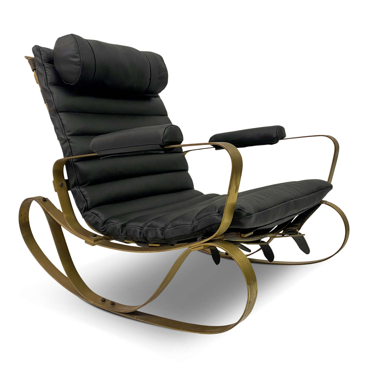 1970s Italian Brass and Black Leather Rocking Chair by Frigerio