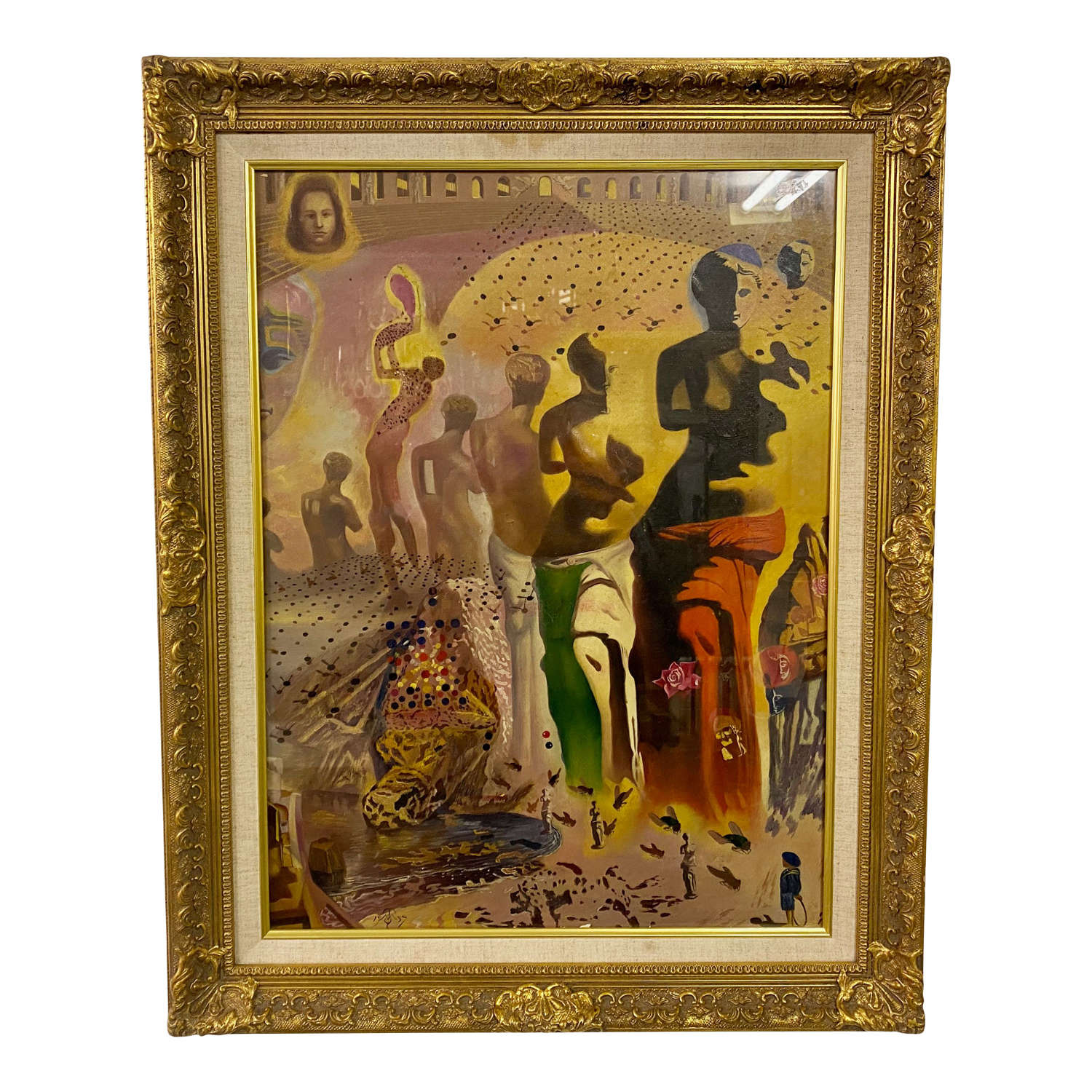 1950s Surrealist Oil Painting after Dali