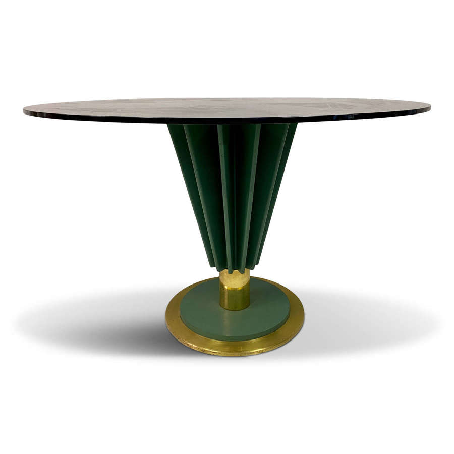 1970s Brass and Green Painted Iron Dining Table by Pierre Cardin