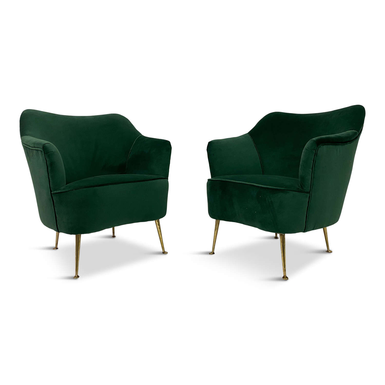 Pair of 1950s Italian Armchairs in Green Velvet