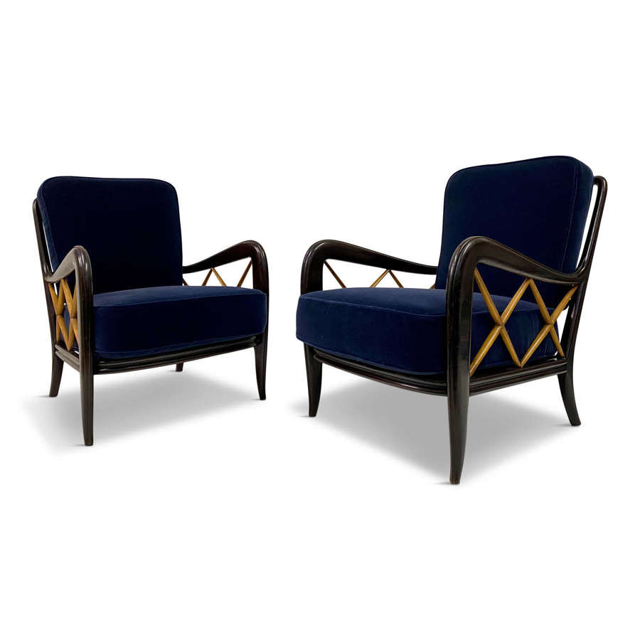 Pair of 1950s Paolo Buffa Style Armchairs in Blue Mohair Velvet