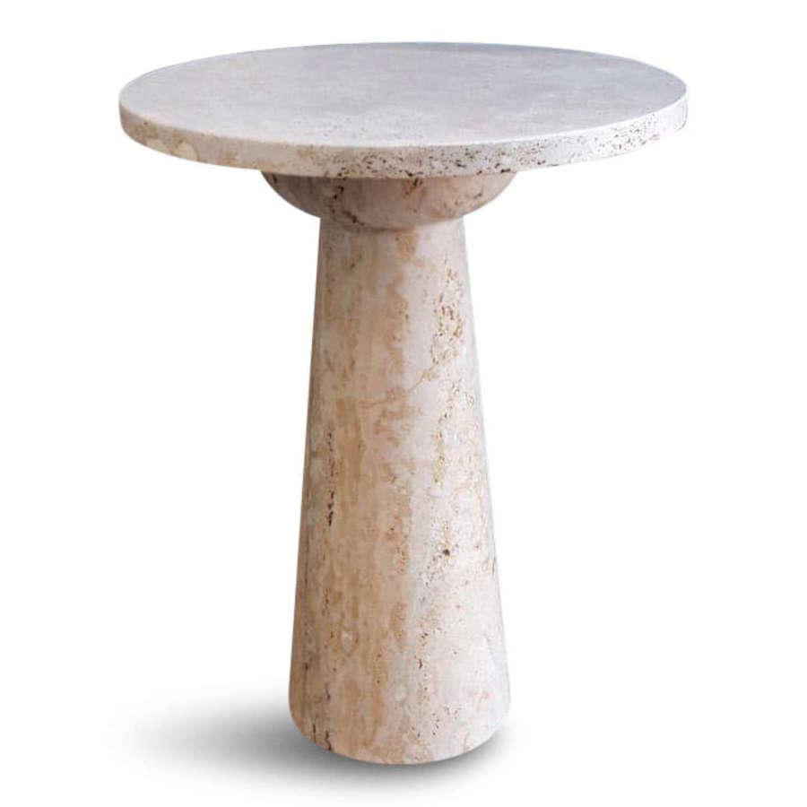 Bespoke Italian Travertine Side Table