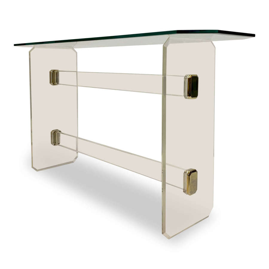 1980s French Lucite And Brass Console Table