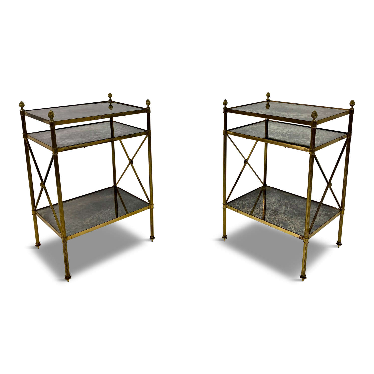 Pair of Three Tier Brass and Eglomise Glass Side Tables