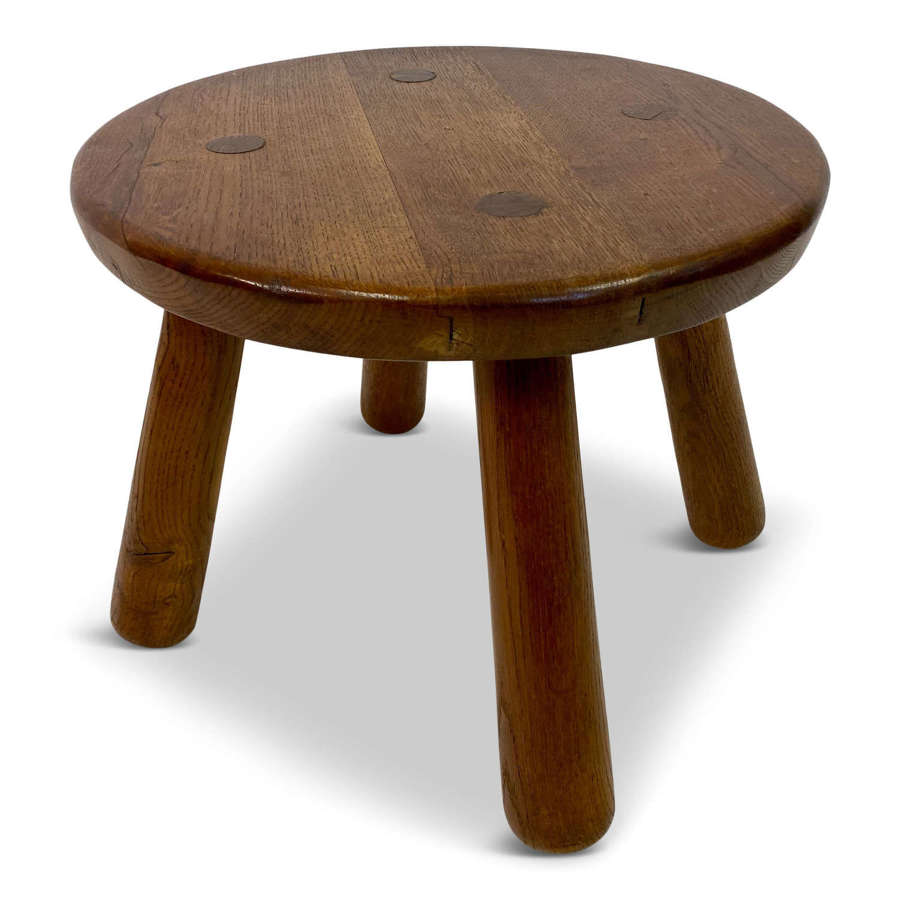Round Oak Coffee or Side Table in the Style of Philip Arctander