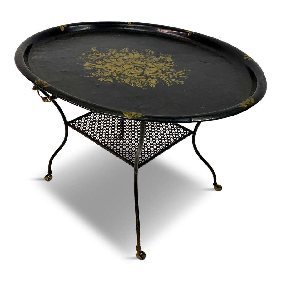 Black Lacquered Tray Table on Castors