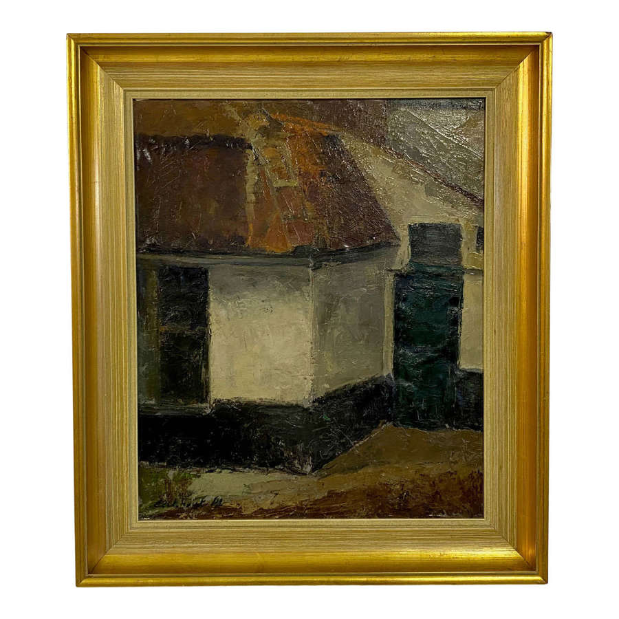Mid Century Oil Painting on Canvas
