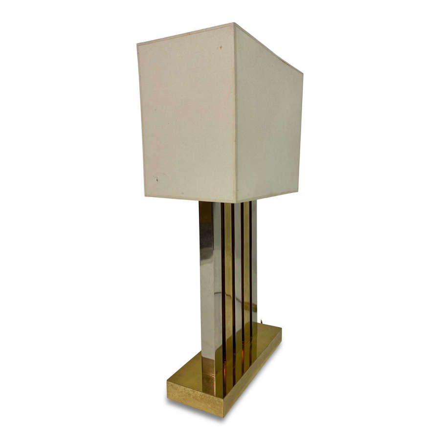 Large 1970s Brass and Chrome Table Lamp