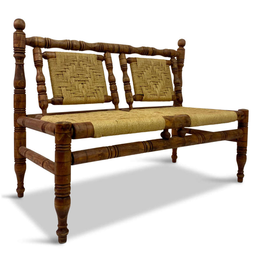 Mid-Century French Rope Bench Sofa in the Style of Audoux Minet