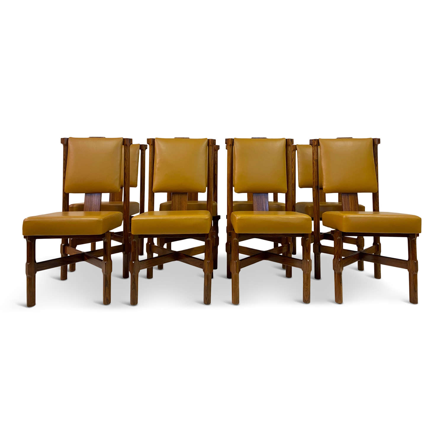 Set of Eight Italian Iroko and Leather Dining Chairs