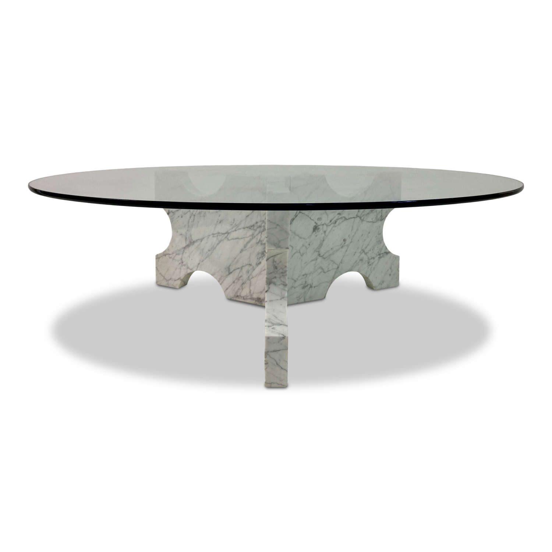 1970s Carrara Marble Coffee Table