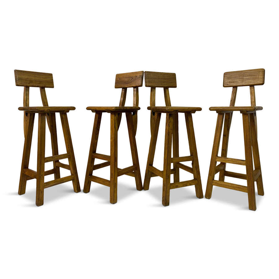 Set of Four French High Stools in Solid Elm