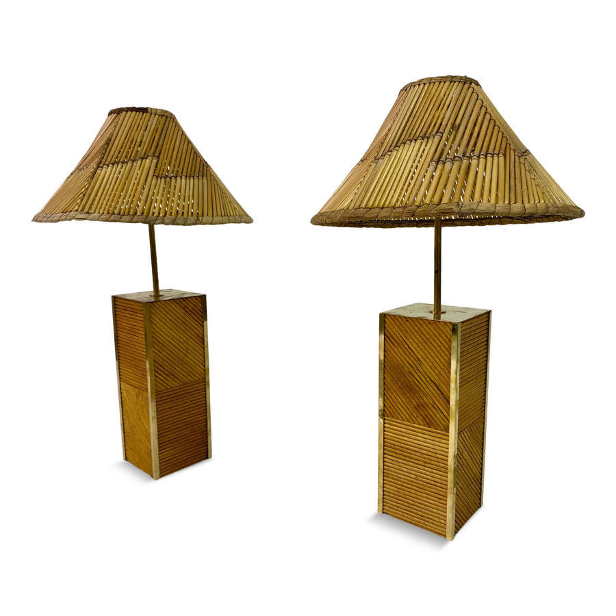 Pair of Italian Reeded Bamboo and Brass Table Lamps