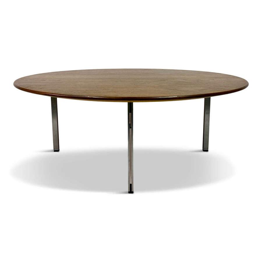1960s Round Teak and Aluminium Coffee Table